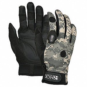 General Utility Mechanics Gloves, Synthetic/PVC Palm Material, Black/Camo, XL, PR 1