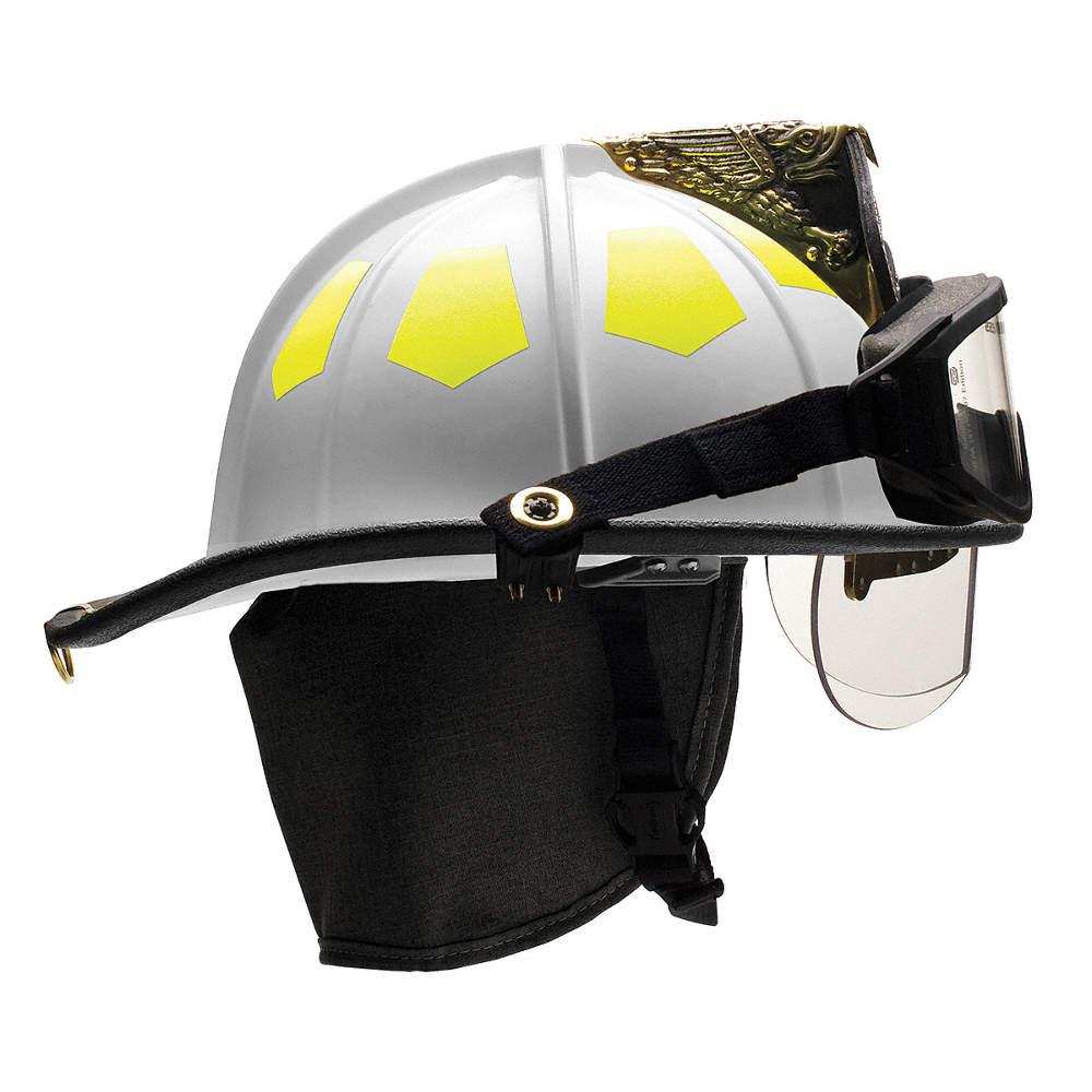 White Fire Helmet, Shell Material: Fiberglass, 6-Point Sure-Lock® Ratchet  Suspension, Fits Hat Size: