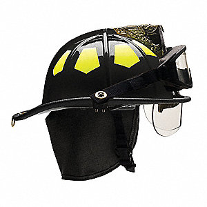 Black Fire Helmet, Shell Material: Fiberglass, 6-Point Sure-Lock® Ratchet Suspension, Fits Hat Size: