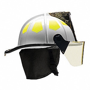 White Fire Helmet, Shell Material: Fiberglass, 6-Point Sure-Lock® Ratchet Suspension, Fits Hat Size: