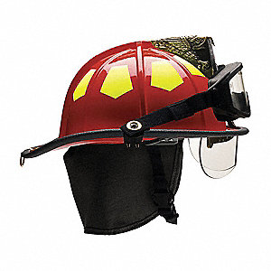 Red Fire Helmet, Shell Material: Fiberglass, 6-Point Sure-Lock® Ratchet Suspension, Fits Hat Size: 6