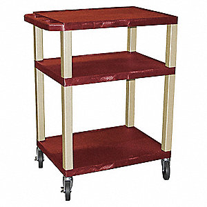 "24""L x 18""W Burgundy Utility Cart, 300 lb. Load Capacity, Number of Shelves: 3"
