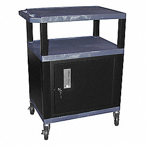 "24""L x 18""W x 34""H Audio-Visual Cart w/Electric, Topaz Shelf Color"