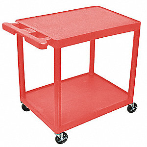 Thermoplastic Resin Flat Handle Utility Cart, 200 lb. Load Capacity, Number of Shelves: 2