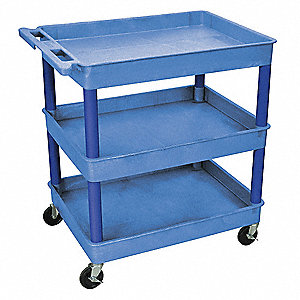 Lipped Thermoplastic Resin Flat Handle Utility Cart, 400 lb. Load Capacity, Number of Shelves: 3