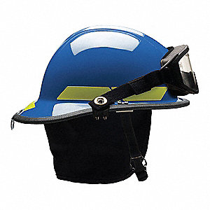 Blue Fire Helmet, Shell Material: Thermoplastic, 6-Point Sure-Lock® Ratchet Suspension, Fits Hat Siz