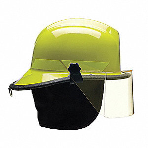 Lime-Yellow Fire Helmet, Shell Material: Thermoplastic, 4-Point Sure-Lock® Ratchet Suspension, Fits