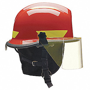 Red Fire/Rescue Helmet, Shell Material: Thermoplastic, 4-Point Sure-Lock® Ratchet Suspension, Fits H