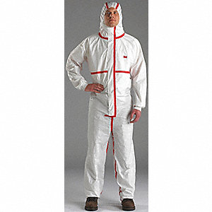COVERALL HOODED WHITE/RED SIZE XL