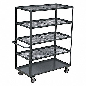 "42""L x 25""W x 67""H Gray Welded Steel Stock Cart, 1400 lb. Load Capacity, Number of Shelves: 5"