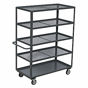 "66""L x 31""W x 67""H Gray Welded Steel Stock Cart, 1400 lb. Load Capacity, Number of Shelves: 5"