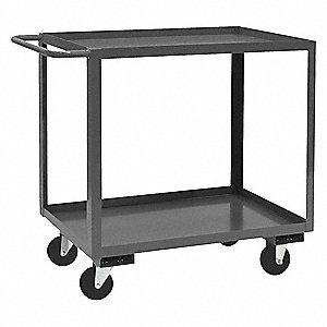 Steel Flat Handle Utility Cart, 1200 lb. Load Capacity, Number of Shelves: 2
