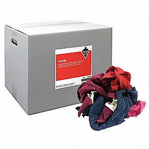 Assorted Recycled Cotton Sweatshirt Cloth Rag, 25 lb. Box, 1EA