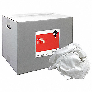White Recycled Cotton Flannel Cloth Rag, 25 lb. Box, 1EA