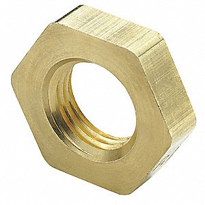 "Brass Straight Thread Bulkhead Locknut, 1/4"" Tube Size"