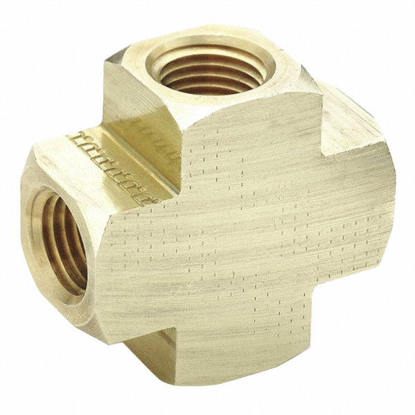 Parker brass cross fnpt quot pipe size fitting