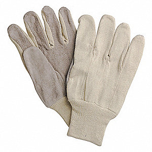 GLOVES SPLIT LEATHER PALM COT BACK