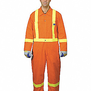 COVERALLS ORANGE W/YW STR SZ 46