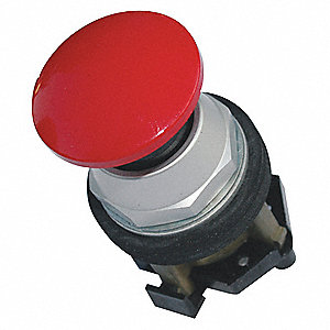 Non-Illuminated Push Button, Type of Operator: 40mm Mushroom Head, Size: 30mm, Action: Momentary Pus