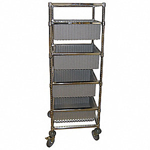 "68""H x 24""W Steel Mobile Bin Cart, 200 lb. Load Capacity, Total Number of Bins: 4"