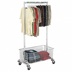 Garment Rack,Adj Height,w/Wire Basket