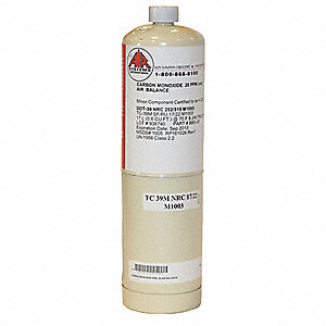 Carbon Monoxide Calibration Gas, 17L Cylinder Capacity