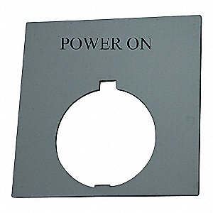 30mm Round Power On Legend Plate, Plastic, White/Black and Red