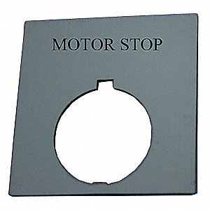 Legend Plate,Square,Motor Stop,Black
