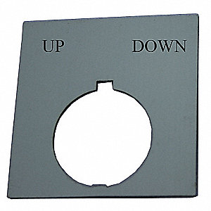 30mm Round Up-Down Legend Plate, Plastic, Black