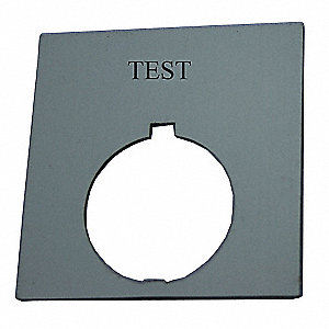 30mm Round Test Legend Plate, Plastic, Black
