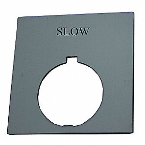 30mm Round Slow Legend Plate, Plastic, Black