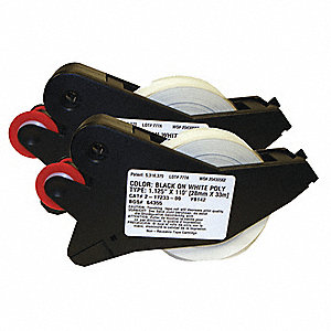 "Indoor/Outdoor Polyester Label Tape Cartridge, Black/White, 1-1/8""W x 110 ft."