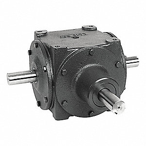 Standard Rugged Cast Iron Bevel Gear Drive, Double Output, 225 lb. Overhung Load