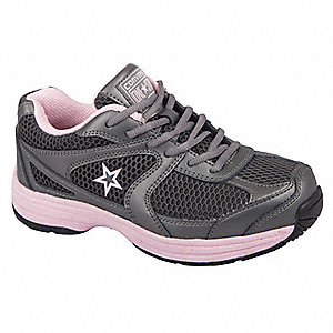"4""H Women's Athletic Style Work Shoes, Steel Toe Type, Leather and Nylon Mesh Upper Material, Gray/P"