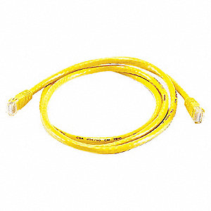 Yellow Ethernet Cable, Connector Type: RJ45 - 8P8C, Boot Type:  Booted, 5 ft. Length