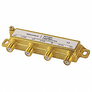 Coaxial F Type Cable Video Splitter, Gold