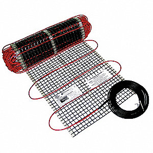 "Electric Floor Heating Mat, 30 sq. ft., 120VAC, Watts Per Square Ft. 12, Width 18"", Length 20 ft."