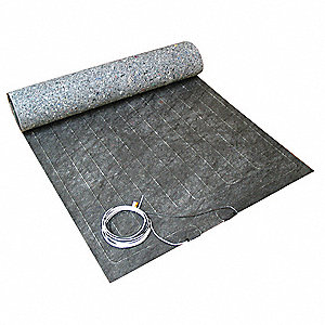 "Electric Floor Heating Mat, 15 sq. ft., 240VAC, Watts Per Square Ft. 10, Width 36"", Length 5 ft."