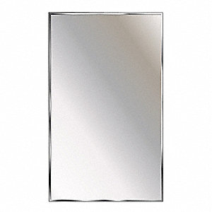 "Theftproof, Channel Framed 36""H x 18""W Washroom Mirror"