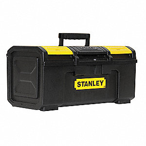 "Plastic Portable Tool Box, 10-1/4""H x 23-1/2""W x 11""D, 1409 cu. in., Black"