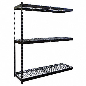 "48""W x 36""D x 84""H Steel Boltless Shelving Add-On Unit, Black&#x3b; Number of Shelves: 3"