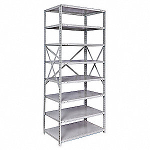 "36"" x 12"" x 87"" Starter Steel Shelving Unit, Platinum"