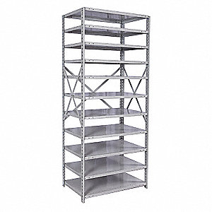 "Starter Open Metal Shelving, 48""W x 24""D x 87""H, 3850 lb. Load Cap., 11 Shelves, Light Gray"