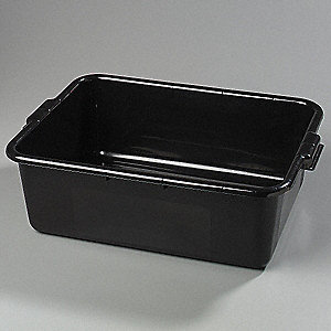 "20"" x 15"" x 7"" Polypropylene Bus Box, Black"