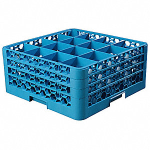 "19.75"" x 19.75"" x 8.72"" Polypropylene Glass Rack w/3 Extenders with 16 Compartments, Blue"