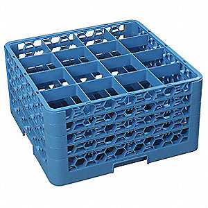 "19.75"" x 19.75"" x 10.3"" Polypropylene Glass Rack w/4 Extenders with 16 Compartments, Blue"