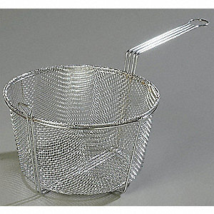 "9.75"" x 4.75"" x 5.0"" Chrome Plated Nickel Steel Mesh Fryer Basket"