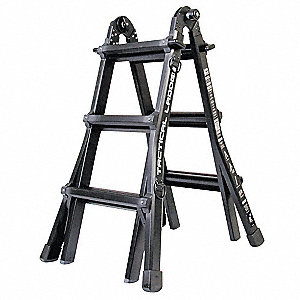 Aluminum Multipurpose Ladder, 11 ft. Extended Ladder Height, 300 lb. Load Capacity