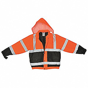 Bomber Jacket,Insulated,Orange/Black,M