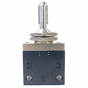 "3.03""L Aluminum / Brass Detented Metal Toggle 3-Way, 3 Position Toggle Valve, NPT"